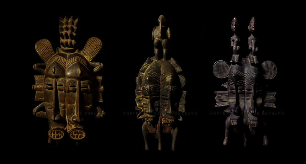 Senufo doublefaced Kpelié masks by Doh Soro, Koulé from Djemtene, Yalourga Soro, Koulé from Ganaoni, Nono Koné, Koulé from Tiogo.