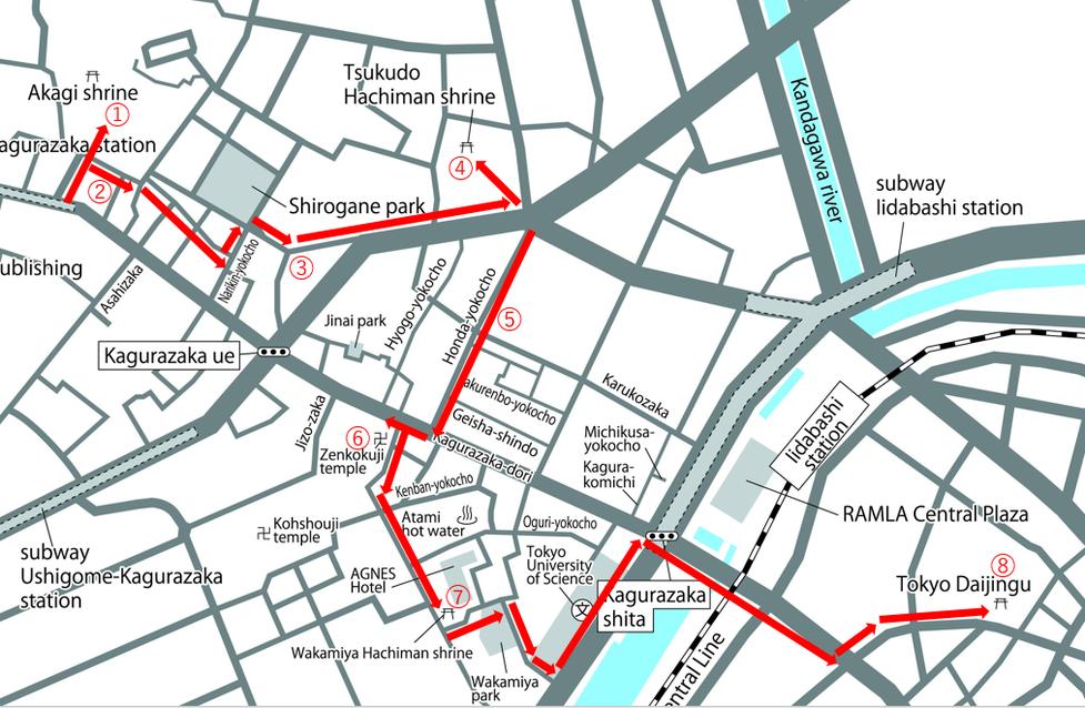 神楽坂の寺社を辿るコース地図