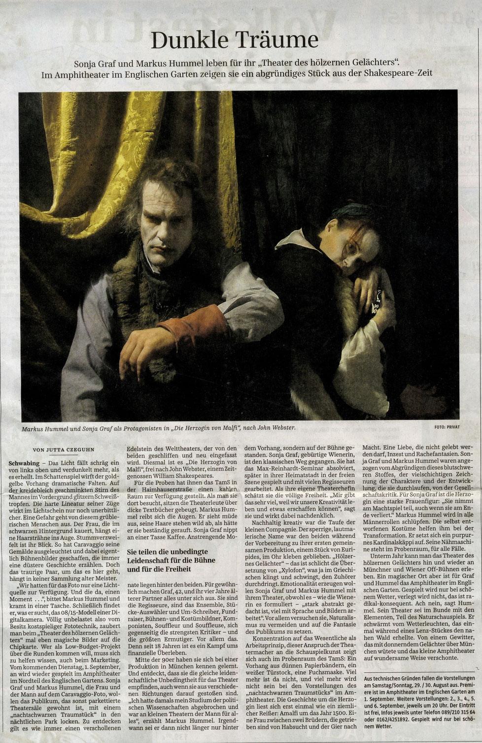 """""""Die Herzogin von Malfi"""", SZ, 28.08.2015"""