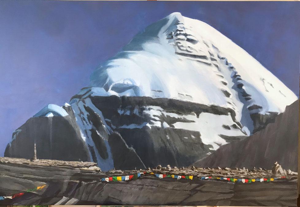 Kailash, Südwest Wand, Gouache auf Leinwand, 110 x 140 cm, 2019