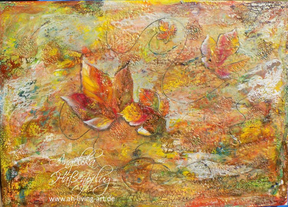 Wachsmalerei, Enkaustik, encaustic, Wachs, Herbst, Blätter bunt, abstrakte kunst, Auftragsarbeit, Angelika Haßenpflug, living art, malen kunst