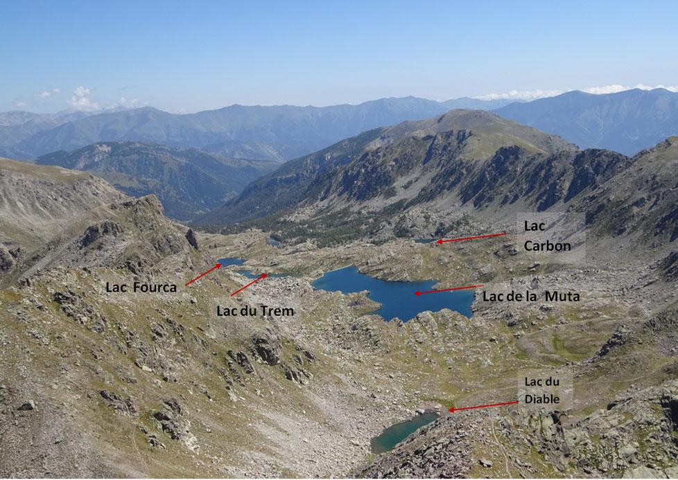Les lacs visibles de la cime du Diable
