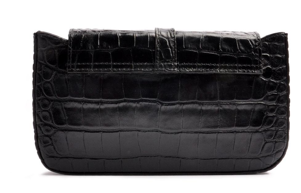 Clutch Leder schwarz mit Schulterriemen . OSTWALD Traditional Craft