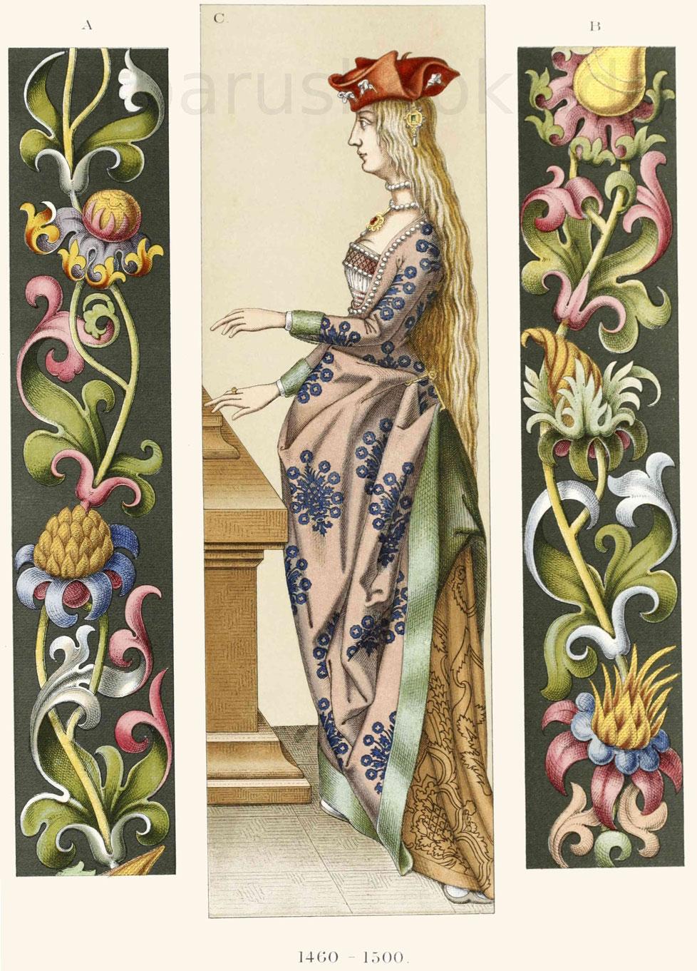 Frauentracht und textile Arbeit aus der zweiten Hälfte des 15. Jahrhunderts.