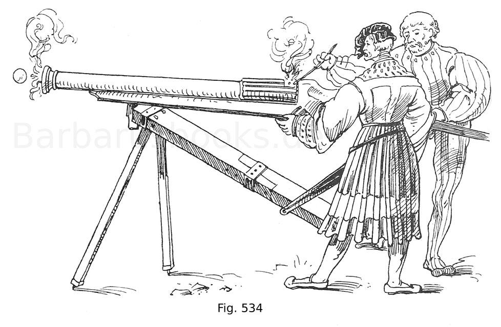 Fig. 534. Landsknechte eine Hakenbüchse auf zerlegbarem Bocke abfeuernd. Aus den Zeugbüchern Maximilians I. Zeug: Österr. Land. Um 1514.