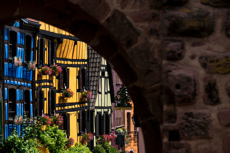 Timber-framed house fronts in Riquewihr, Alsace