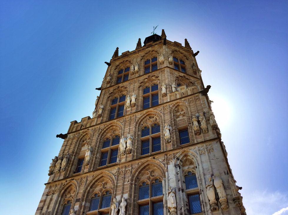 Historisches Rathaus Köln bei blauem Himmel