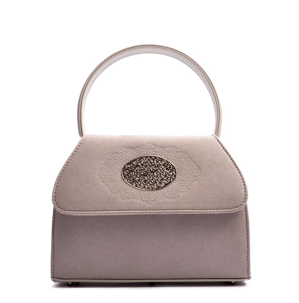 Handgefertigte Trachtentasche EMMA grau Handarbeit aus der  Ledermanufaktur OSTWALD Tradition