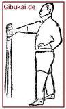 Makiwara-Übung nach Funakoshi 1922.