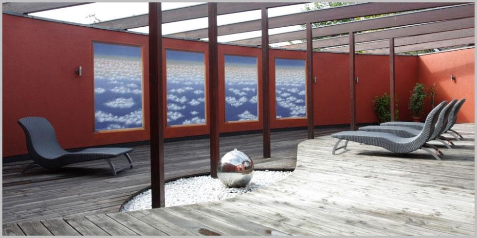 Sauna Außenbereich im Eurostrand Fintel, Foto by Christian Oemler
