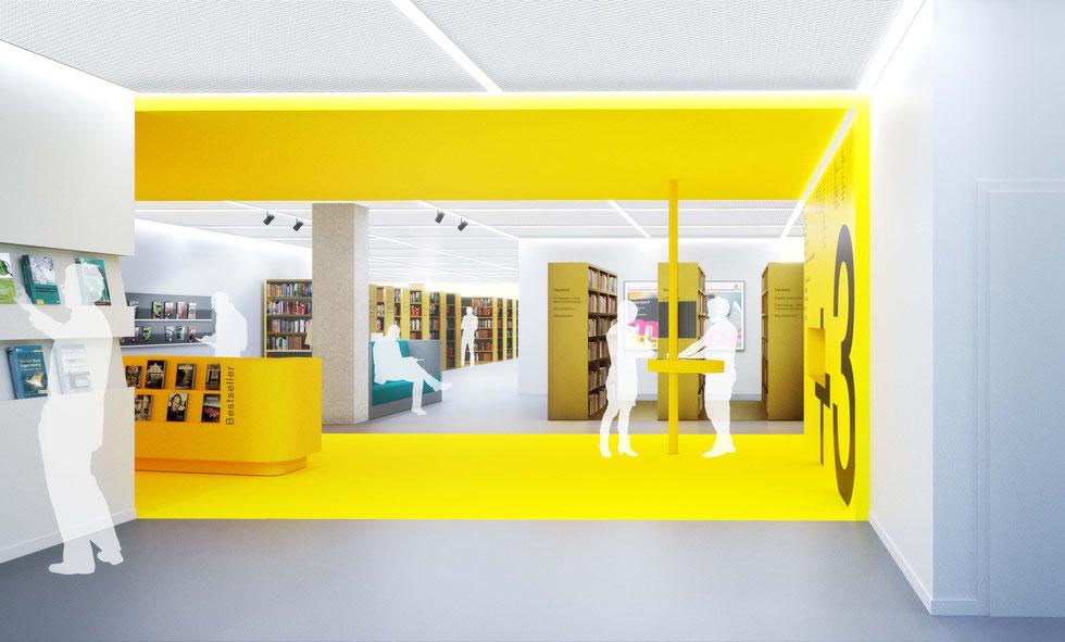 Sanierungswettbewerb Zentralbibiliothek Köln - 1. Perspektive UKW-Innenarchitekten
