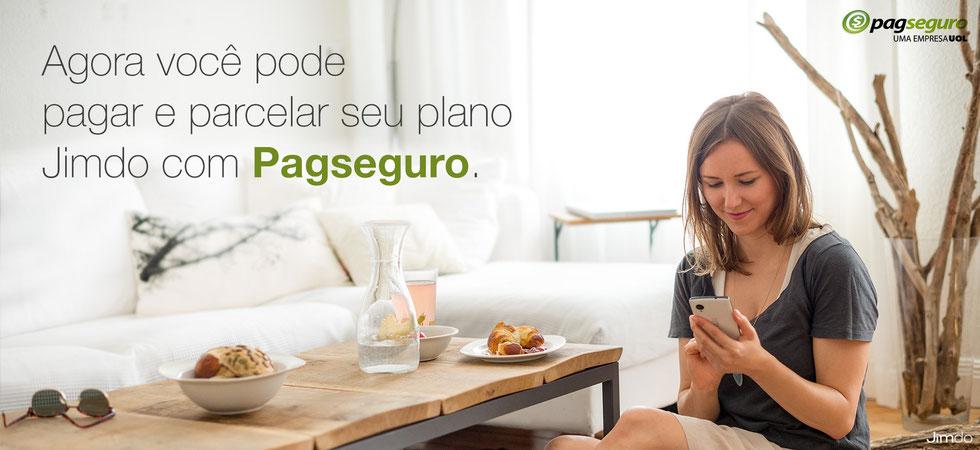 Agora você pode pagar JimdoPro ou JimdoBusiness com Pagseguro: Parcelamento em até 18x nos cartões de crédito, transferência bancária ou débito em conta.
