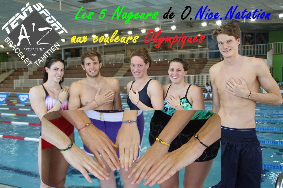 Les 5 nageurs de l'ONN avec leurs Bracelets Tahitien aux couleurs Olympiques