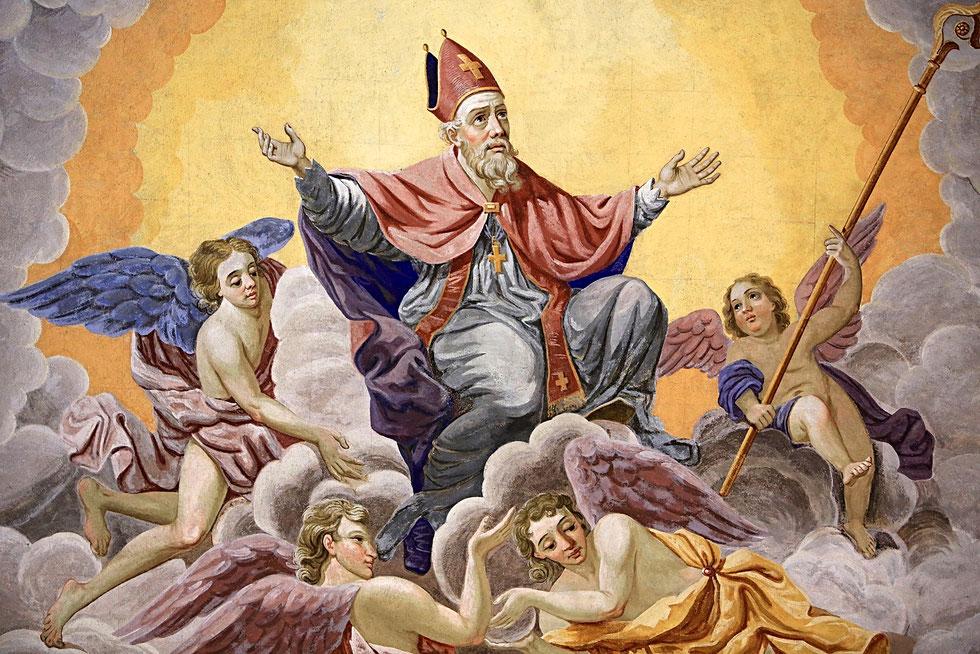 Saint-Nicolas, évêque de Myre, monte au ciel. Eglise Saint-Nicolas de Véroce.
