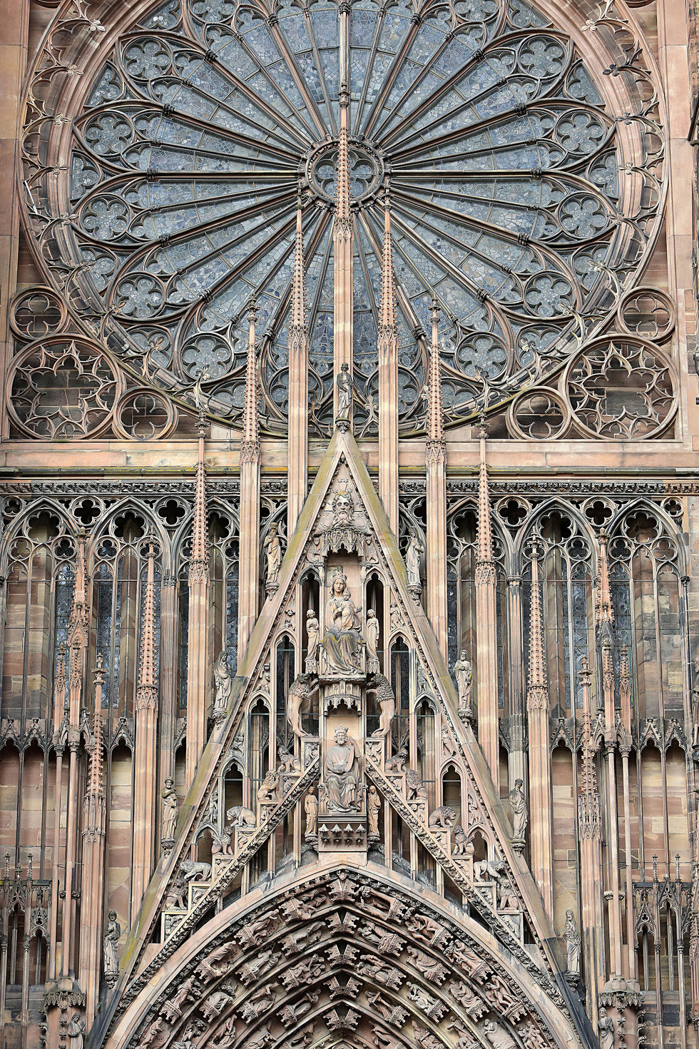 Western rose window. Central portal. 1250. Our Lady of Strasbourg Cathedral.