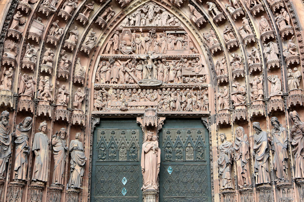 Tympanum of the central portal. West facade of the Virgin says and Prophètes. 1250. Our Lady of Strasbourg Cathedral.