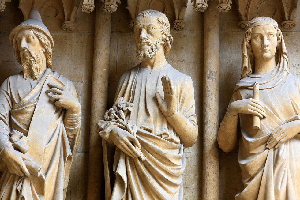 From left to right : St. Joachim, St. Joseph and St. Lucia. St. Stephen of Metz Cathedral.
