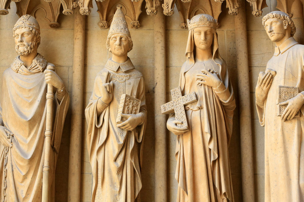 From left to right : St. Clement, St. Gregory, St. Helena and St. Stephen. Portal of the Virgin. 13th century. Gothic. St. Stephen of Metz Cathedral.