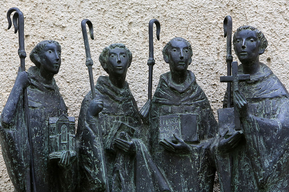 Robert of Molesme, Alberich of Cistercian, Stephan Harding, Bernard of Clairvaux. Heiligenkreuz Abbey.