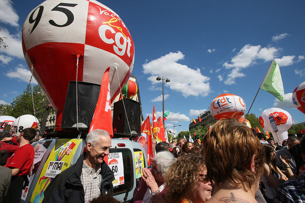 Manigestations syndicalistes. Denfert-Rochereau. 1er mai 2012.