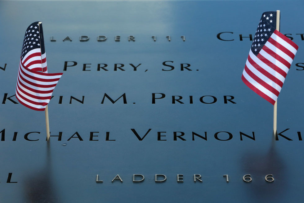 Ground zero. The National 9/11 Memorial at the site of the World Trade Center in Lower Manhattan.