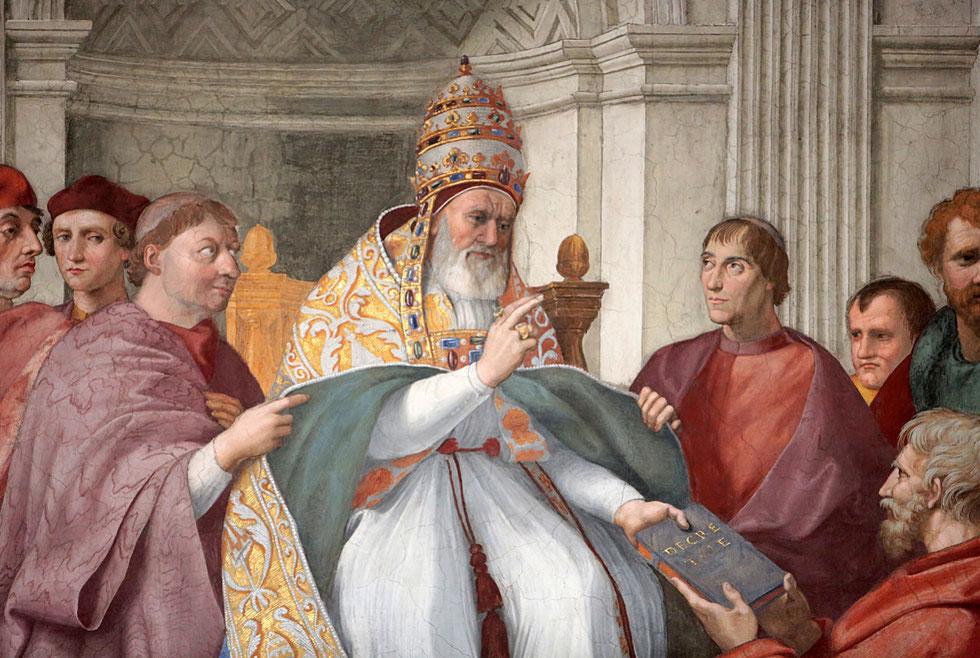Vertus cardinales et théologales. Fresque du peintre italien Raphaël. 1511. Stanza della Segnatura. Musée du Vatican. Roma.