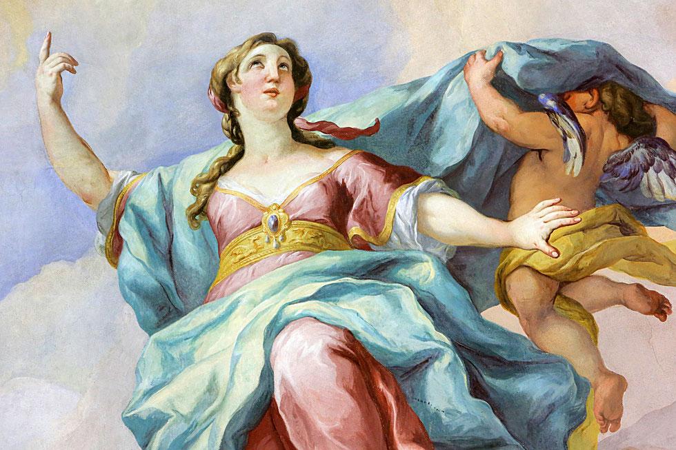 Virgin Mary. Fresco by Johann Michael Rottmayrr. Karlskirche. St. Charles's Church.