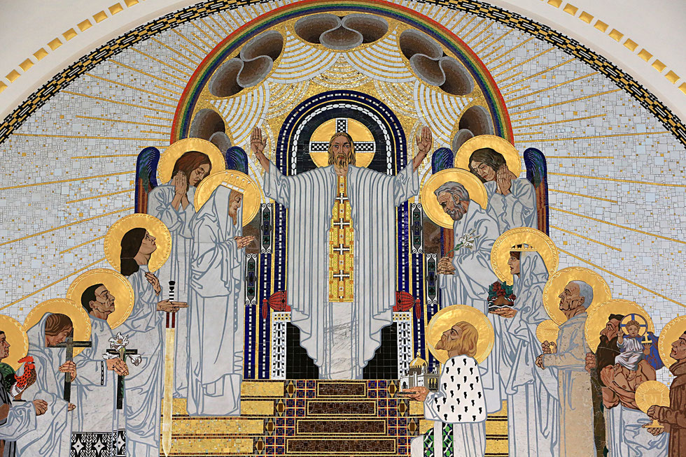 Jesus Christ. The Home in Paradise. Mosaics created by Remigius Geyling (1878-1974). Steinhof Church built by Otto Wagner between 1902 and 1907.