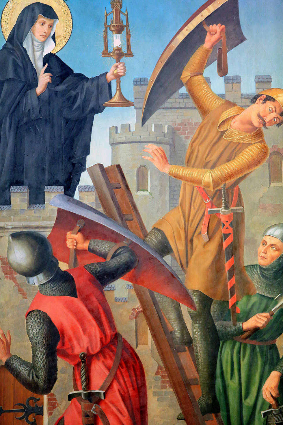 Right paint. St. Clair pushes the Saracens. Neo-Gothic triptych from the late 19th century. St. Stephen Cathedral of Metz.