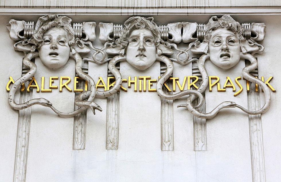 Entrance Facade of the Secession Building in Vienna building designed by Joseph Maria Olbrich in 1897.