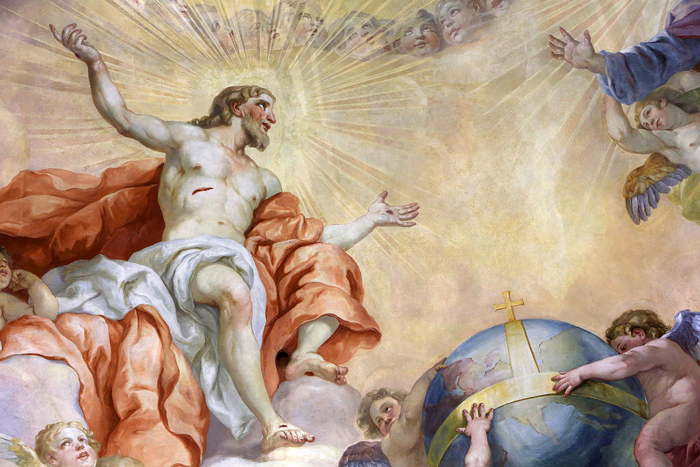Fresque de Johann Michael Rottmayr sur la coupole de l'Eglise Saint-Charles Borromée à Vienne.