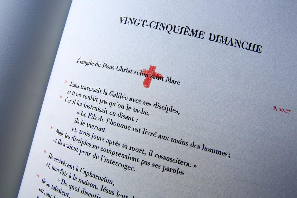 Vingt-cinquième dimanche. Evangile de Jésus-Christ selon Saint-Marc. La Roche-sur-Foron. Haute-Savoie.