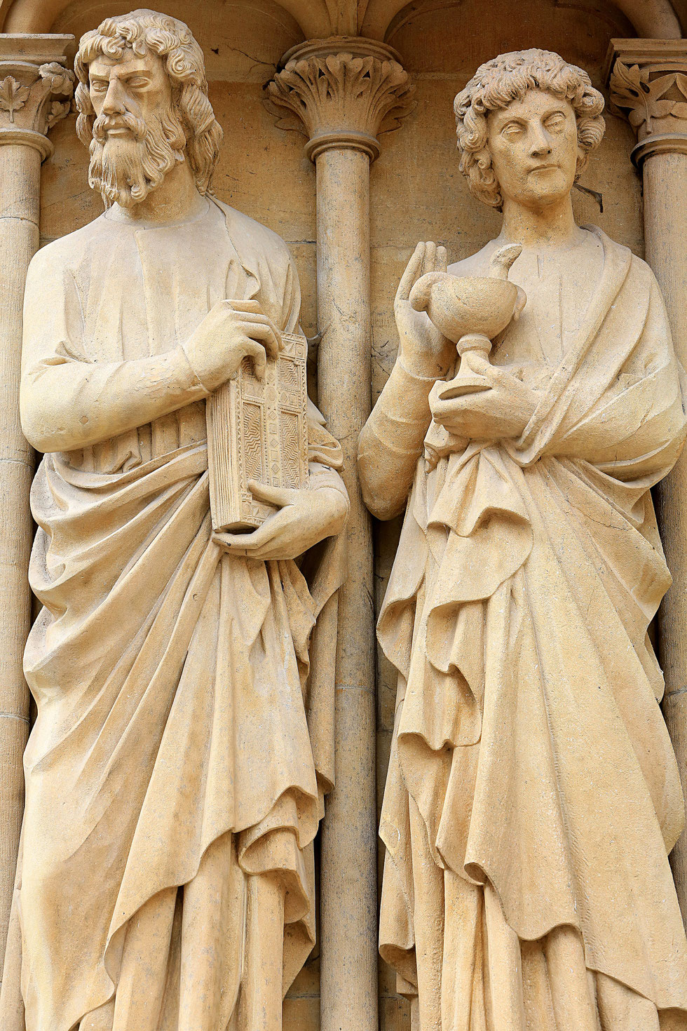 From left to right : Evangelists : St. Luke and St. John. Portal of the Virgin. St. Stephen of Metz Cathedral.