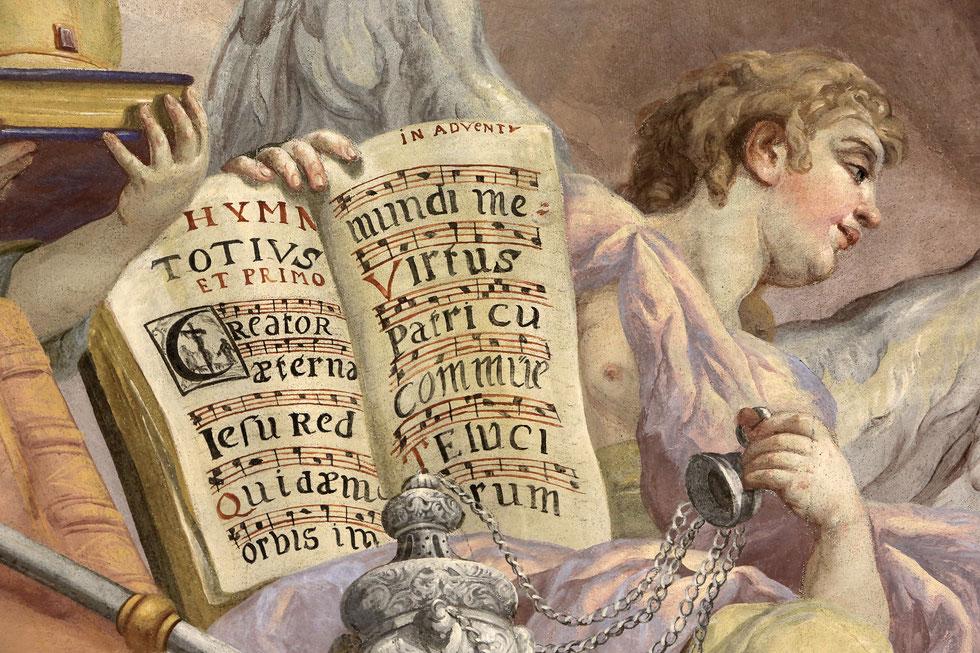 Antiphonary. Fresco by Johann Michael Rottmayrr. Karlskirche. St. Charles's Church.