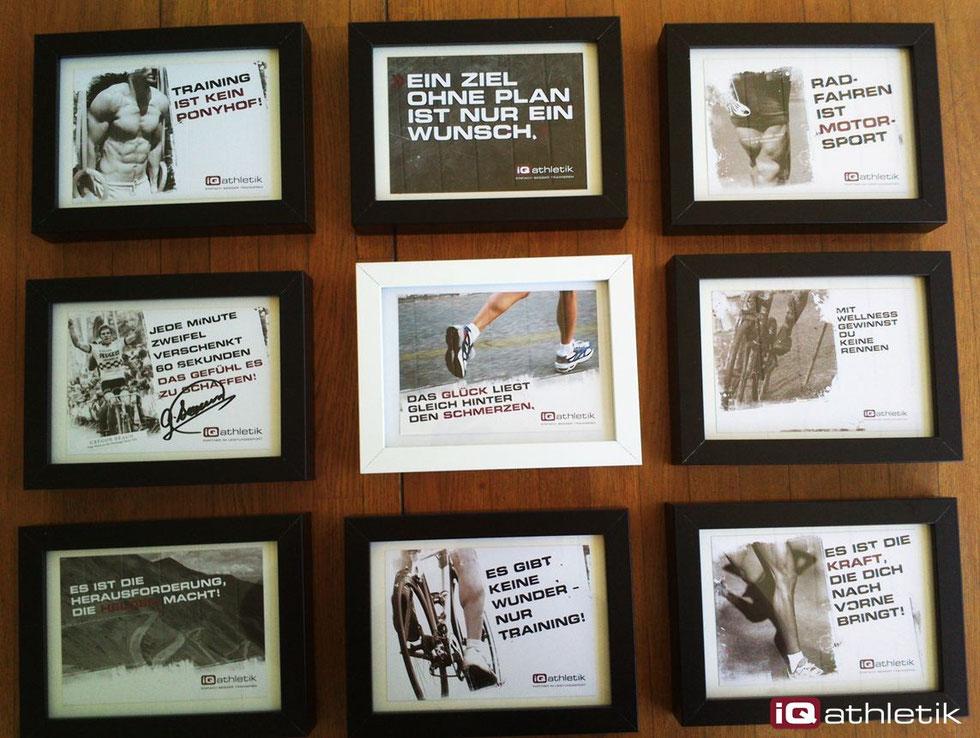 Die Wand der Wahrheiten. Sportliche Motivations-Postkarten von iQ athletik