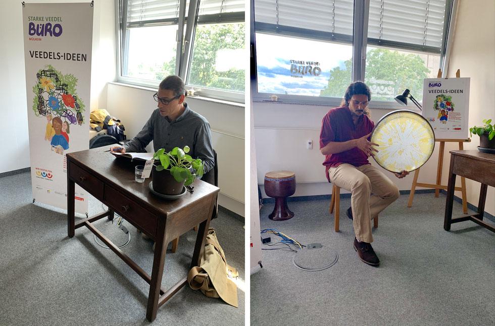 Marco Hasenkopf las, Syavash Rastani sorgte für Musik – die beiden Künstler begleiteten die Eröffnung des Büros.