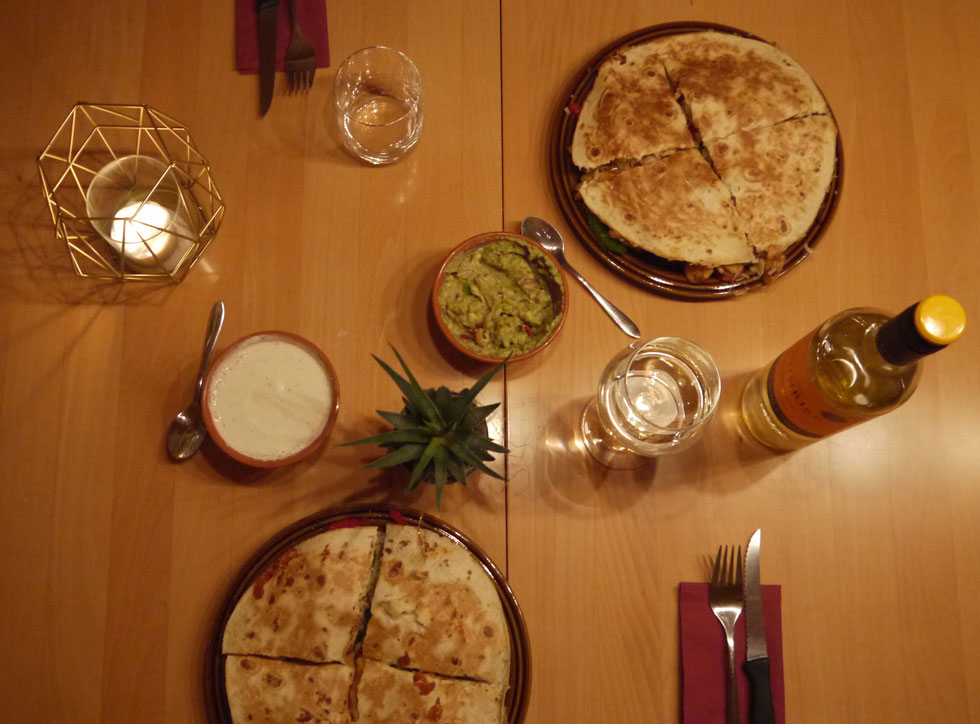 home selfmade homemade quesadillas mexican dinner wine guacamole