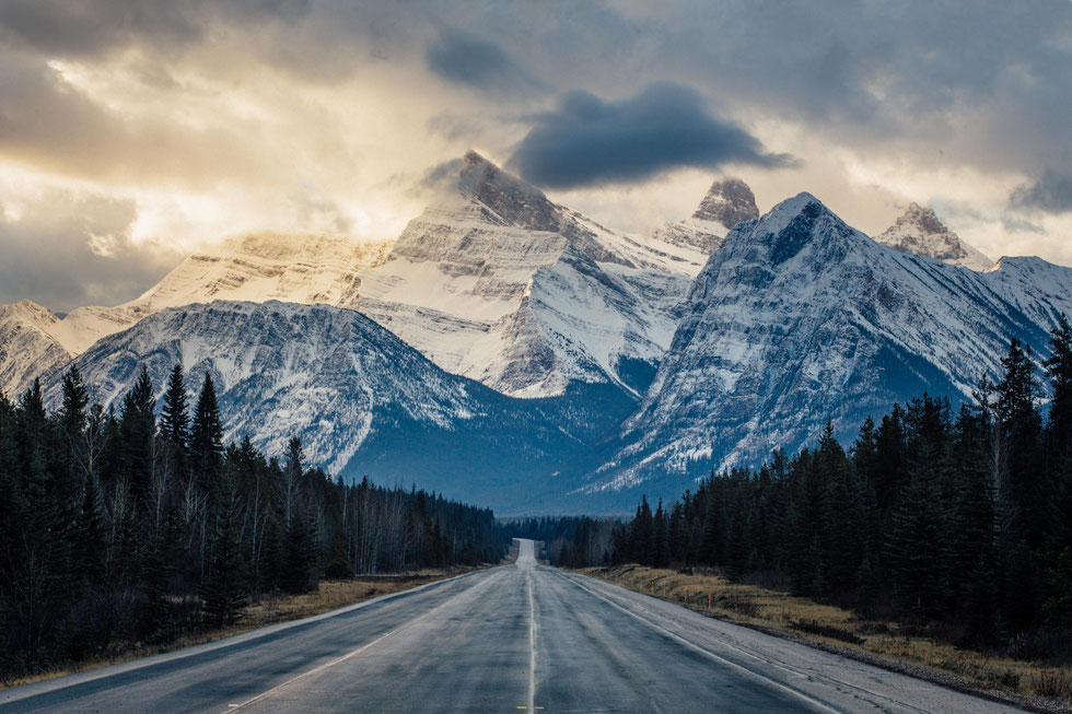 Mountain vistas along the Icefields Parkway in Canada.