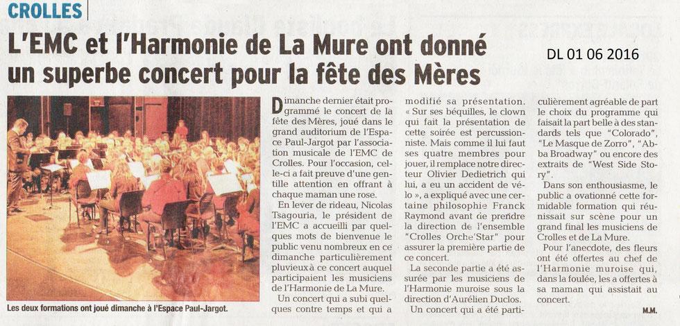 Ecole de musique EMC à Crolles - Grésivaudan : article du Dauphiné Libéré sur le concert de la fête des Mères