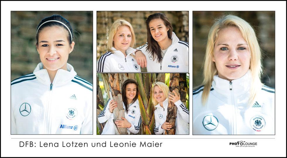 Lena Lotzen und Leonie Maier beim Algarve Cup 2013; © Photolounge-Lauer