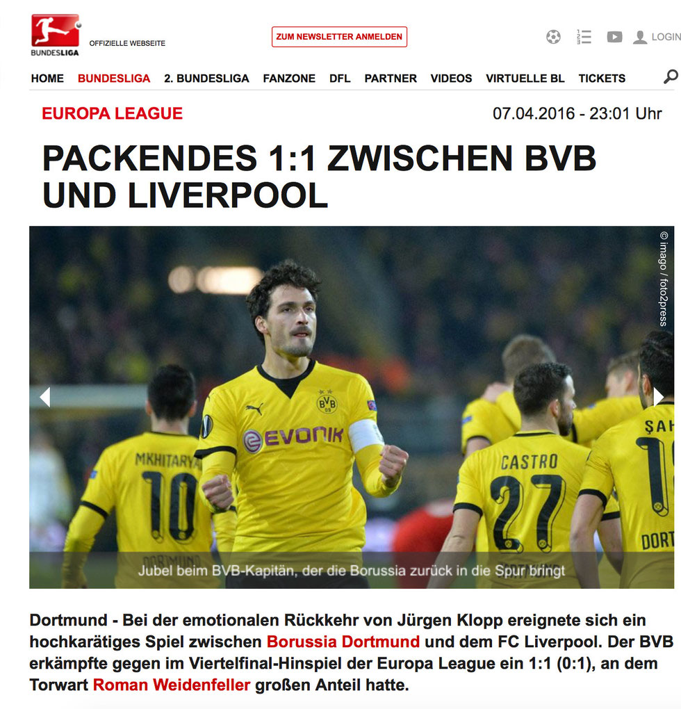 Beitrag auf www.bundesliga.de
