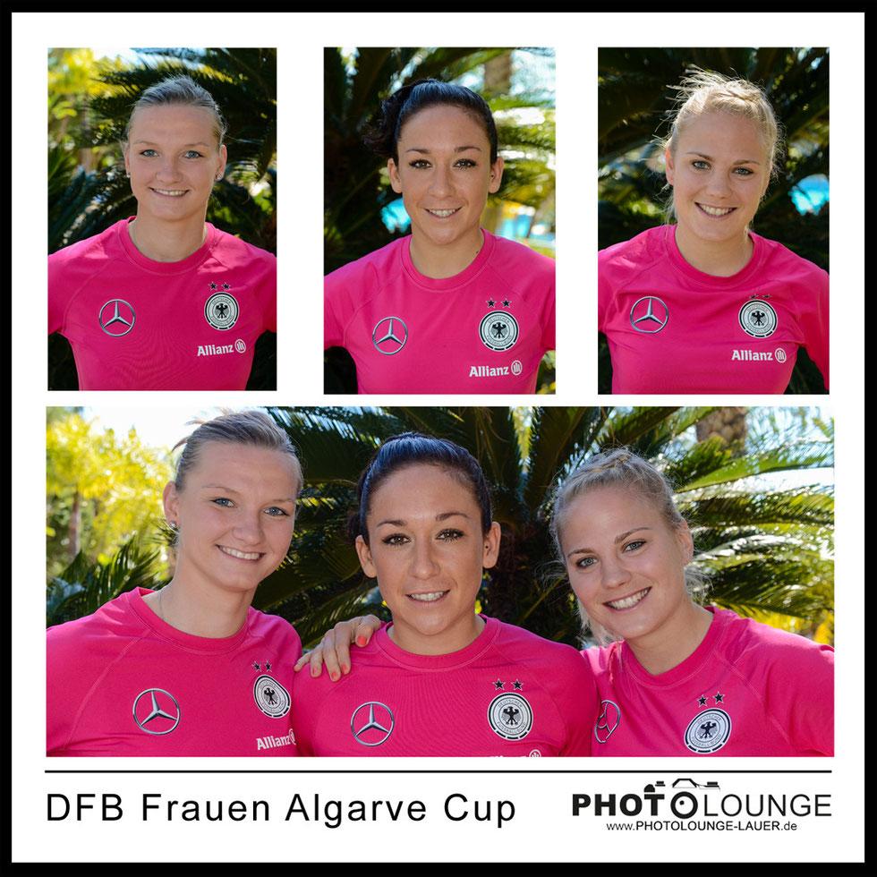 Alexandra Popp, Nadine Kessler und Leonie Maier beim Algarve Cup 2014
