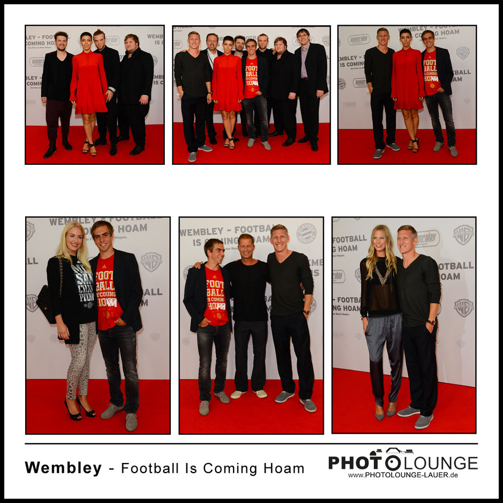 "Bastian Schweinsteiger, Philipp Lahm, René Hiepen, Frida Gold & Ralf Grengel bei der Filmpremiere von ""Wembley - Football Is Coming Home"""