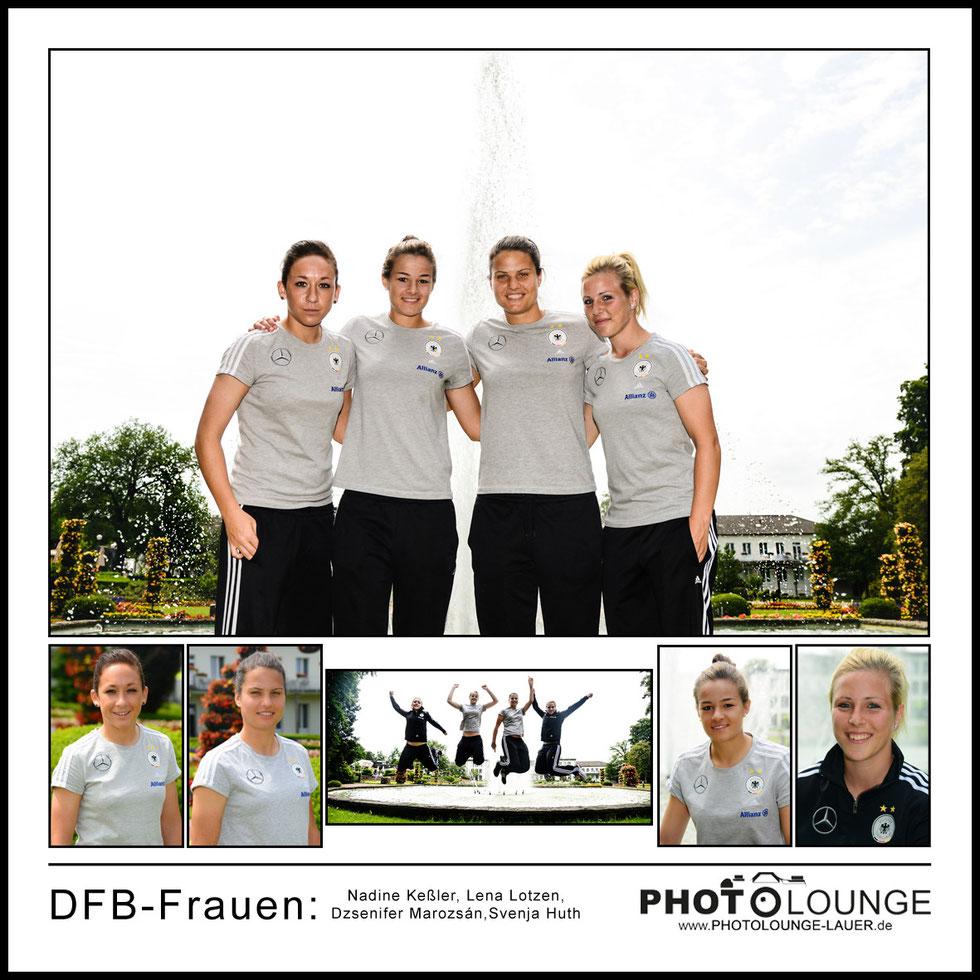 Fotoshooting DFB-Frauen: Nadine Keßler, Lena Lotzen, Dzsenifer Marozsán, Svenja Huth