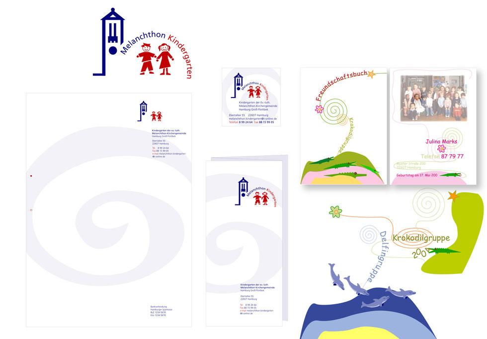 Melanchton Kindergarten e.V. // Markenzeichen | Geschäftspapiere | Schilder | Freundschaftsbücher