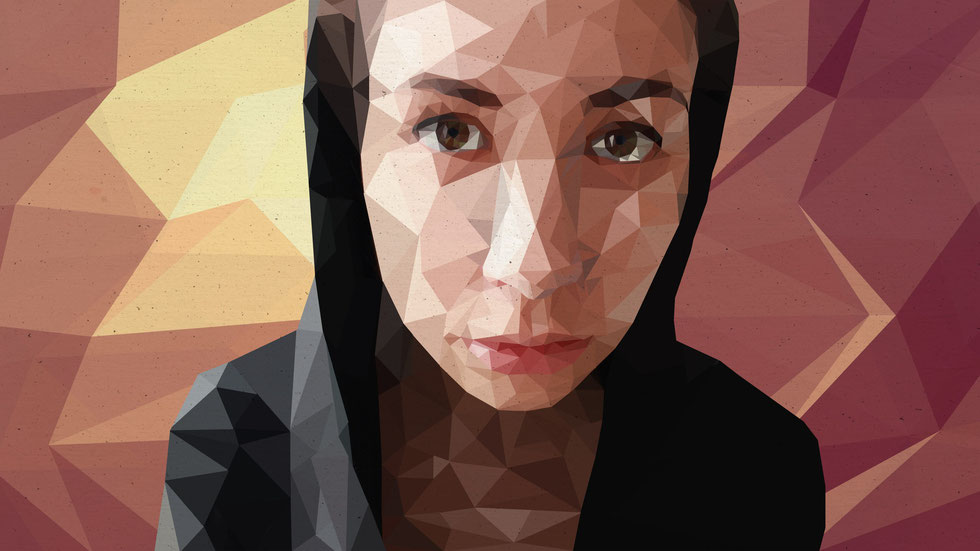 Selbstportrait, Lowpoly - Illustration, (c) Felice Vagabonde, Illustratorin aus Hamburg
