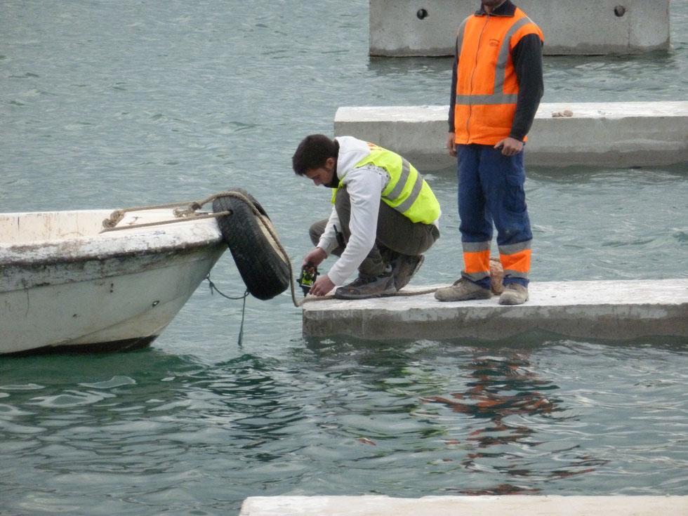 Obras de ejecución de pantalán en el Puerto Deportivo de Dénia (Alicante)