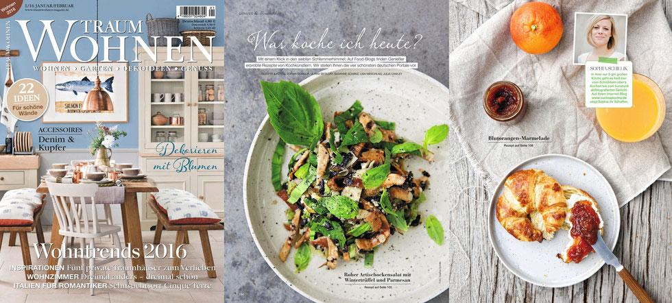Foodbloggerin, -fotografin und -stylistin Sophia Schillik hat für ihre Kreationen den KULØR Teller Hygge verwendet und einige ihrer Gerichte wurden nun in der Traumwohnen Jan/2016 veröffentlicht. Um auf ihren Blog cucinapiccina.de zu gelangen klickt auf das Bild!