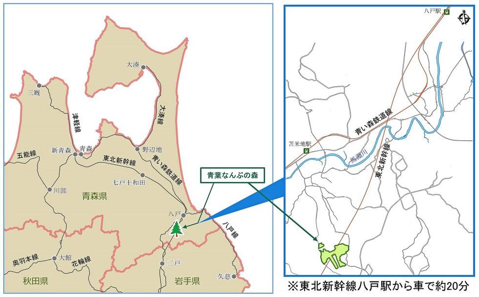 青葉なんぶの森の地図|ウッドタワー研究会