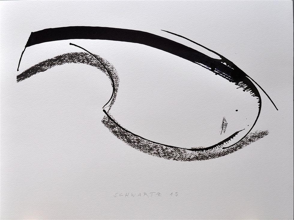 ohne Titel | 2015 | 42 x 56 cm | Zeichenkohle und Tusche auf Papier